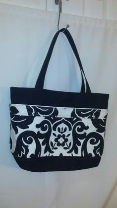Large Black and White Tote / Diaper Bag with by Lolitasgear