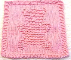 Knitting Cloth Pattern     TEDDY BEAR    PDF by ezcareknits, $3.00 Knitting Blocking, Knitting Squares, Dishcloth Knitting Patterns, Knit Dishcloth, Knitting Charts, Knitting Stitches, Knit Patterns, Clothing Patterns, Knitting Needles