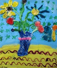 I love the 3d flowers coming out of a painting. I bet kids would love it too. From http://www.artismessy.org/