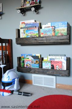 How to Make a Pallet Shelf {diy shelf} - Home Stories A to Z  This might work in the lobby of the church for information???