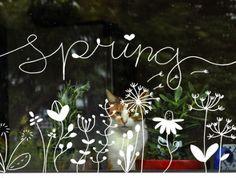 Krijtstifttekening, raamtekening, raamversiering, raamdecoratie spring, lente inclusief letters (ook in spiegelbeeld). Download voor 3,95.