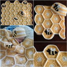 DIY crochet honey bee baby blanket and hat set pattern Manta Crochet, Knit Or Crochet, Cute Crochet, Baby Blanket Crochet, Crochet Crafts, Crochet Projects, Diy Projects, Diy Crafts, Knitting Patterns