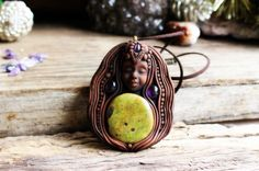 Goddess Necklace with Atlantisite and Amethyst Gemstones. Handcrafted Clay by TRaewyn Jewelry. by TRaewynJewelry on Etsy https://www.etsy.com/listing/257004907/goddess-necklace-with-atlantisite-and