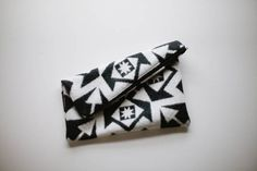 Pendleton wool clutch (2) from Vanilla & Lace - geometric black and white slouchy purse. LOVE IT!