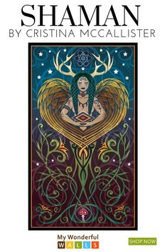 Shaman Graphic Art Decal - Shaman by Cristina McAllister Wall Decor Pictures, Art Pictures, Symbolic Art, Wall Art Prints, Fine Art Prints, Cute Wall Decor, Nature Tattoos, Fantasy Art, Art Nouveau