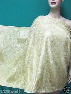 White-n-Gold-Peacock-Feathers-BROCADE-Fabric-Yardage