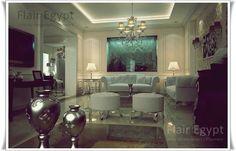 White interior space with a built in aquarium