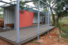 Nomad Living, a shipping container guest house that expands out to a shaded terrace.   www.facebook.com/SmallHouseBliss