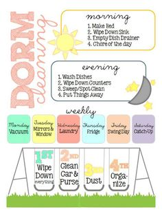 Dorm cleaning list - This is made so well and is adorable!