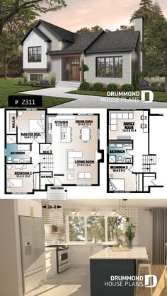 Discover the plan 2311 - Ramsay from the Drummond House Plans house collection. 3 to 4 bedroom modern farmhouse with open space, cathedral ceiling, pantry, mud room and split level. Brick House Plans, Large House Plans, Open Floor House Plans, Porch House Plans, Modern Floor Plans, House Layout Plans, Basement House Plans, Craftsman House Plans, Country House Plans