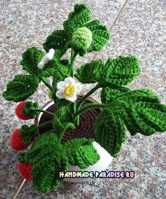 Blooming strawberries hook.  Scheme (9)