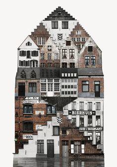 L'artiste suédoise Anastasia Savinova, un peu comme Oliver Michaels, cherche dans le paysage suédois, et parfois ailleurs, des éléments architecturaux qui se répètent et les assemble pour créer de nouveaux bâtiments composites aux motifs récursifs.