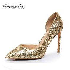 Women high heels shoes sexy nightclub shallow thin heel 10.5cm 8.5cm women s  glitter leather pumps silver gold wedding shoes  Affiliate a05a19d66d15