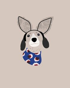 Custom Dog Portrait by Woof Models - Dachshund. Reese @harlowandsage is wearing Maison Michel Rabbit Ears Lace Headband & Stella McCartney Blossom Dress.