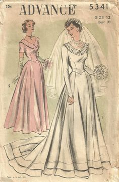 Advance 5341 Vintage 40s Sewing Pattern Bridal Wedding Gown via Etsy.