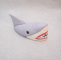 5 inch Shark Head Out of Water Fondant Cake Topper Ocean Fish