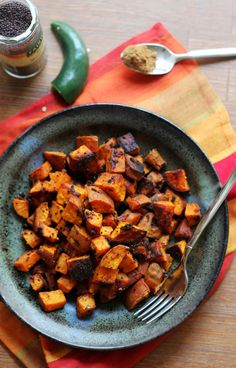 Sweet potatoes get a spicy makeover when they're tossed with a mix of turmeric, garam masala, and red pepper flakes in this recipe for North Indian-spiced roasted sweet potatoe Vegetable Dishes, Vegetable Recipes, Vegetarian Recipes, Cooking Recipes, Healthy Recipes, Rice Recipes, Veggie Food, Cooking Tips, Indian Appetizers