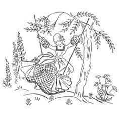 Pattern Detail | Lady on a Swing | Needlecrafter