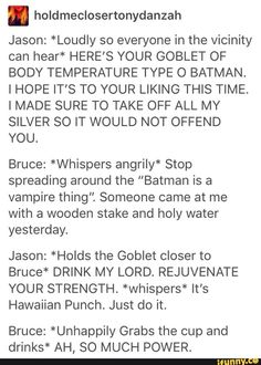 Picture memes by Bread_Hood: 1 comments iFunny :) - Batman Funny - Ideas of Batman Funny - This is adorable I can see tiny Jason doing this as Robin PR as older red hood just to tick him off:) I Am Batman, Batman Robin, Funny Batman, Batman Art, Joker Batman, Batman Stuff, Batman Arkham, Nananana Batman, Dc Memes