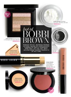 Best Of: Bobbi Brown — Beautezine Makeup Artist. Queen of complexions. Pioneer of Pretty Powerful. Here are 7 of the top, best-selling Bobbi Brown products of all time. Beauty Art, My Beauty, Beauty Makeup, Makeup Kit, Eye Makeup, Brown Makeup, Bobbi Brown Shimmer Brick, Hydrating Eye Cream, Beautiful Brown Eyes