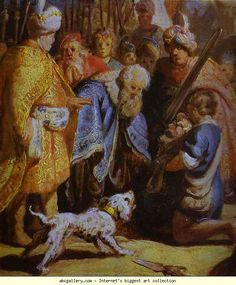 Rembrandt. David Presenting the Head  of Goliath to King Saul. Detail. Olga's Gallery.