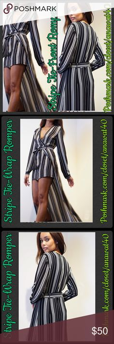 "Stripe Tie-Wrap Romper HP This is no ordinary romper! This romper has an overlay that creates the illusion of a skirt. The romper has stripes print all over, and a sexy closed back and v-neck front and tie front. The romper closes with an invisible zipper in the back. Make this romper ultra sexy by adding some stilettos, a statement necklace and a bright colored clutch.    - 100% Polyester  - 58"" Total length - Fits true to size - Hand Wash Cold/ long roll up sleeves with button tab closures…"