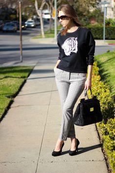 STYLE INSPIRATIONS -- Tiger Sweatshirt -- Sunglasses: Bulgari. Sweatshirt: Zara. Pants: Zara. Shoes: Dolce & Gabbana. Bag: Dolce & Gabbana.