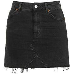 Topshop Petite Highwaisted Mini Skirt (650 ARS) ❤ liked on Polyvore featuring skirts, mini skirts, washed black, mini skirt, high waisted mini skirt, short skirts, topshop mini skirt and high waisted short skirts
