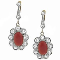 Antique Cabochon Oval Coral 1.60ct Diamond 14k Yellow Gold Earrings - See more at: http://www.newyorkestatejewelry.com/earrings/victorian-coral-diamond-gold--drop-earrings/24255/5/item#sthash.N7wqGoas.dpuf