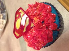 Superman Cupcake's for K's 2nd BDay party (gluten free)!