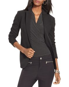 Lauren by Ralph Lauren | Black Stretch-wool Single-button Jacket | Lyst