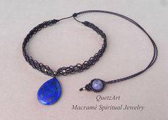 Macramé Brown Choker. AMETHYST Healing Stone from Brazil.