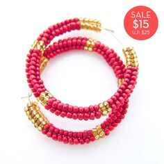 SALE > Red Nubian Hoops by JeannieRichard > Moving Fast! 4 PAIRS LEFT! $15.00 #sale #fashion #jewelry #earrings #hoops #red #beaded #gold