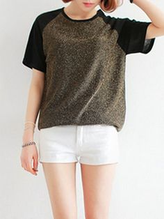 Golden Contrast Color T-shirt - Fashion Clothing, Latest Street Fashion At Abaday.com