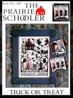"""Trick or Treat"" is the title of this cross stitch pattern from The Prairie Schooler that is stitched with DMC (White, 640, 729, 898, 921 and 3371).  There is so much going on in this Halloween cross stitch pattern that you will enjoy stitching each motif as you go along.  I love the trick or treaters across the bottom!"