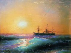 Beautiful use of color    Sunset at Sea by Ivan Aivazovsky