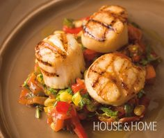 Grilled Scallops With Corn, Bacon & Red Pepper Ragout Recipe