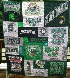 Michigan State University T-shirt Shirt quilt. For all of the MSU shirts my husband just can't part with. But Football, Michigan State Football, Michigan State University, Spartan Wallpaper, Msu Spartans, Crafty Craft, Go Green, Art Projects, Graduation