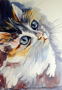 Painting: Watercolor on Paper. Keywords: blue, cat, animal, domestic, baby, little, orange