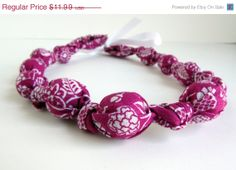 ON SALE Magenta Beaded Nursing Necklace Fabric by RubyRebels, $10.79