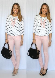 Light pink skinny jeans, white and black polka-dot blouse, heels and handbag, and light pink bubble necklace.