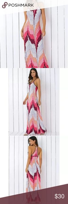 "Printed maxi slip dress New. Polyester. Chest 30"", hips 36"". Dresses"