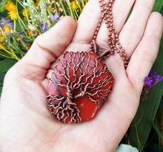 red jasper tree of life pendant-copper wire necklace-wire wrapped pendant-wire wrapped stone-wire weave jewelry-Melissa Wood Jewelry
