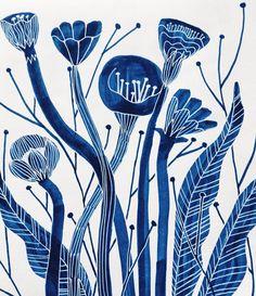 by penelope_dullaghan Grandeur Nature, Art Watercolor, Blue Art, Illustrations Posters, Flower Art, Printmaking, Art Paintings, Art Drawings, Illustration Art