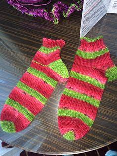 Ravelry: Fuzzythinker's Watermelon socks