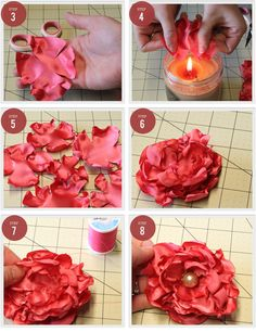 cute and easy DIY fabric flower and pearl pinscute and easy DIY fabric flower and pearl pinsDIY Fabric Flower - Steps - flame and very little sewing!DIY Fabric Flower - Steps - flame and very Felt Flowers, Beaded Flowers, Diy Flowers, Fabric Flowers, Paper Flowers, Flower Diy, Material Flowers, Flower Ideas, Fabric Flower Tutorial