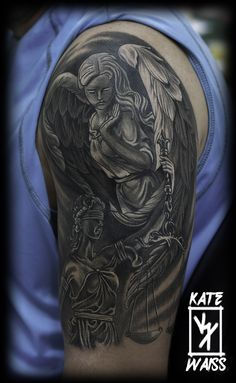 Angel & Lady justice B/W sculpture.
