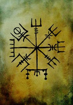 Vegvísir :Life compass to help you on the right path in life. Watercolour by : Jenny Wande