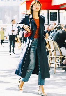 Coat: tumblr black black long long sweater red sweater denim jeans blue jeans sandals sandal heels