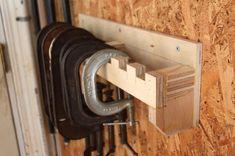 C-clamp storage rack----garage Garage Workshop Organization, Garage Tool Storage, Workshop Storage, Garage Tools, Storage Rack, Storage Systems, Storage Ideas, Garage Shop, Workshop Ideas